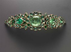 Armband (bazuband), Indian, late 17th–early 18th century, Height x width x depth: 3.6 x 13.7 x 0.6 cm (1 7/16 x 5 3/8 x 1/4 in.), gold, enamel, and emeralds