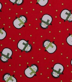 Christmas Cotton Fabric 43''-Cold Penguins on Red