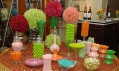 totally love the use of pom poms in this candy buffet