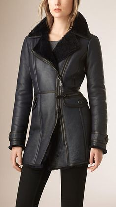 Navy Fitted Merino Shearling Coat - Image 1