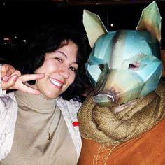 Debbi & I last night #Hitrecord #foxes #mask #foxmask #peace ✌️