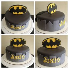 Emblem standing up instead of typical laying it straight on the cake Fancy Cakes, Cute Cakes, Beautiful Cakes, Amazing Cakes, Cake Cookies, Cupcake Cakes, Batman Birthday, Batman Party, Batman Cakes