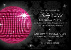 Birthday invitations 18th 21st 30th Black glitter ball with envelopes - ebay £2.50 for 10