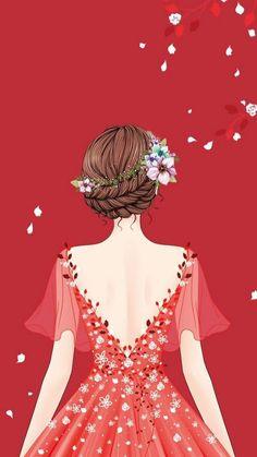 Beautiful Fashion Illustration Dresses, Illustration Girl, Lovely Girl Image, Girly Drawings, Cute Girl Wallpaper, Girly Pictures, Digital Art Girl, Beautiful Anime Girl, Anime Art Girl