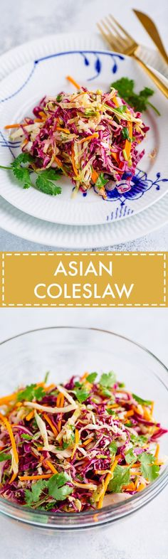 Asian Coleslaw アジア風コールスロー - Refreshing and colorful Asian-style coleslaw recipe. A perfect salad to complement Ahi tuna steak, BBQ meats, and other Asian themed dinner menus. #coleslaw #salad #asiansalad #コールスロー | Easy Japanese Recipes at JustOneCookbook.com