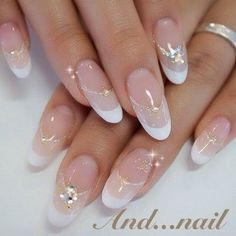 Bridal Nails French Oval Ideas For 2019 Classy Nail Designs, French Nail Designs, Nail Art Designs, Classy Nails, Stylish Nails, Cute Nails, Bridal Nails French, Bridal Nail Art, White French Nails