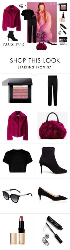 """""""aubergine"""" by wednesday-williams ❤ liked on Polyvore featuring Bobbi Brown Cosmetics, St. John, Dries Van Noten, Jimmy Choo, Prada, StreetStyle, Fall, fauxfur and fall2017"""