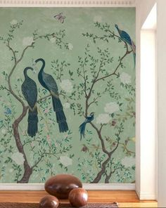 Adorn Your Walls With Big Florals With The Twilight Garden Wall Mural For Sale Online From Rockett St George. A Unique Wall Mural, You Can See The Twilight Wall Mural At Our Liberty London Concession. Oriental Wallpaper, Bird Wallpaper, Wallpaper Panels, Print Wallpaper, Mint Green Wallpaper, De Gournay Wallpaper, Chinoiserie Wallpaper, Mural Art, Wall Murals