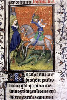Image of an item from the British Library Catalogue of Illuminated Manuscripts Medieval Books, Medieval Knight, Medieval Manuscript, Medieval Art, Illuminated Manuscript, Saint George And The Dragon, Dragon History, Christian Artwork, Book Of Hours
