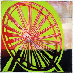 "(c) Barbara Gilhooly  Wheel #9  acrylic, ink, graphite on Rives BFK paper11"" x 11"""
