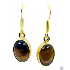 Riyo Smooth Tiger Eye 18kt Gold Plated Copper Brown Earring Gpetey-80009