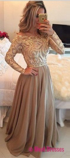Gold Chiffon Long Prom Dresses Sexy Party Gowns Evening Dress,Off the shoulder prom gowns with long sleeves PD20187329