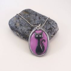 Purple Cat Pendant - Hand painted Cat - Gift For Cat Lovers - Polymer Clay Cat by BurningSunStudio on Etsy
