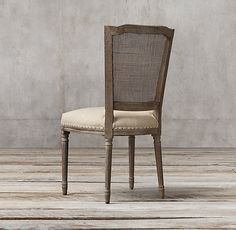 Vintage French Nailhead Cane Back Upholstered Side Chair