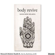 Natural & Holistic Health Henna Lotus Hand Marble Business Card - great design for reiki masters, massage therapists, energy healers, acupuncturists and spiritual coaches more.