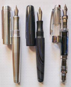 L to R: Karas Kustoms Ink, Edison Pearl, TWSBI 580