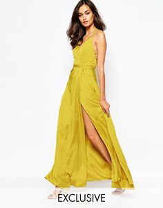 Fame and Partners Luminous Siren Embellished Strap Maxi Dress With Thigh Split #BW #date #evening