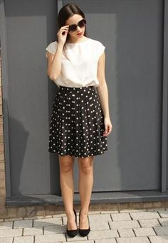Vintage 1980's Black Cream Polka Dot Pleated Mini Skirt