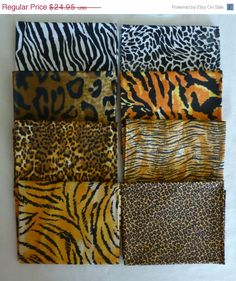 Presidents Day SALE - Cotton Fabric, Quilt Fabric, Animal Skins ,Craft, Fat Quarter Bundle of 8 -Collection #2- , Fast Shipping https://www.etsy.com/shop/suesfabricnsupplies
