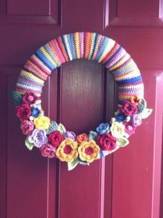 Spring/summer crocheted wreath