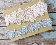 Liga de la boda situado luz marfil encaje perlas por lovelikestyle