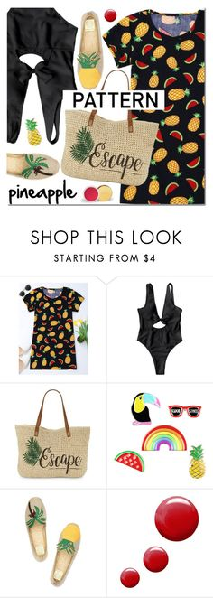 """""""Pineapple pattern"""" by mada-malureanu ❤ liked on Polyvore featuring Straw Studios, Tory Burch, Topshop, dress, swimsuit, pineapple, zaful and dressunder100"""