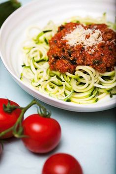 Beef ragu with zucchini noodles.