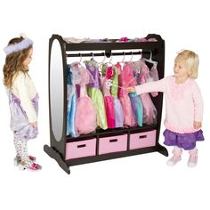 This adorable dress up storage center features upper and lower storage areas with fabric bins for toys, shoes and dramatic play items. Designed with a sturdy wood dowel and hooks, this storage center is perfect for hanging clothes and costumes.