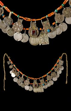 Morocco - Jbel Siroua / Taliouine | Necklace from the Ait Ouaouzguit people; coral, glass beads, Moroccan dna Spanish (Carlos IV) coins