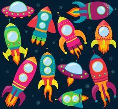 Vector collection of cartoon rocket ships