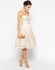 rehearsal dinner? Enlarge Chi Chi London Premium Metallic Lace Bandeau Midi Prom Dress