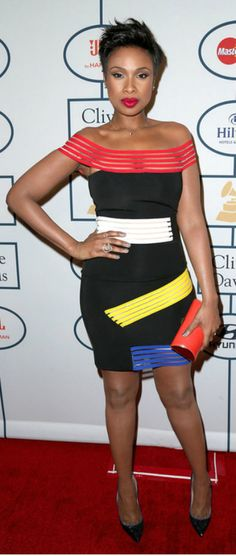 Fabulously Spotted: Jennifer Hudson Wearing Christopher Kane - 2014 Clive Davis Pre-Grammy Gala and Salute to Industry Icons - LuxuryCheckout Jennifer Hudson, Celebrity Outfits, Celebrity Style, Transformation Pictures, Red Clutch, Weekly Outfits, Fresh Face, Christopher Kane, Black Pumps