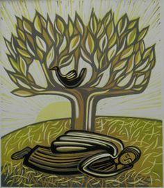 angel tree - linocut '07 25 x 20cm