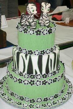 Green and Zebra print Cake.