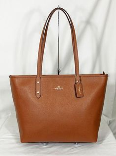 dc337dc59f42 Coach City Zip Tote Bag Purse in Crossgrain Leather Saddle 2 F58846 for sale  online   eBay