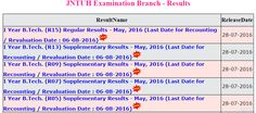 JNTUH 1st year Results 2016 : JNTU Hyderabad B.Tech 1st year R15 advance supply…