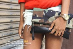 Mood DIY: Camo & Leather Foldover Clutch with Tassel