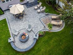 Cambridge Pavingstones with ArmorTec offers pavings options for patios, pools, walkways, driveways, landscape walls and outdoor living solutions. Backyard Retreat, Fire Pit Backyard, Backyard Landscaping, Patio With Firepit, Fun Backyard, Landscaping Ideas, Concrete Patio Designs, Outdoor Patio Designs, Backyard Designs
