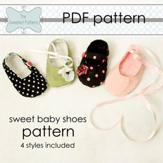 Baby Shoes Booties pattern tutorial PDF DIY - sizes 0-18 months - 4 Styles Included