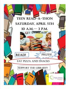 WACL's Teen Read-a-Thon ~ Saturday, April 5th, 10am - 3pm ~ Teens supporting the library. Stop in at the circulation desk or the YA section to pick up your Sponsor Pledge Form or visit our event calendar and download.