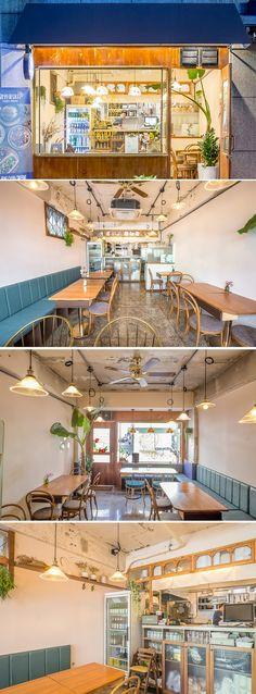 [No.214 망원꽃돼지] 레트로 빈티지 스타일의 망원동 10평 식당, 족발집인테리어 Restaurant Concept, Cafe Restaurant, Restaurant Design, Cafe Interior Design, Luxury Interior, Workshop Cafe, Coffee Shop Furniture, Public Space Design, Store Layout