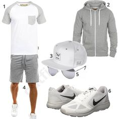 Weiß-Hellgraues Herren-Outfit mit Iriedaily Cap (m0460) #MensFashionShorts