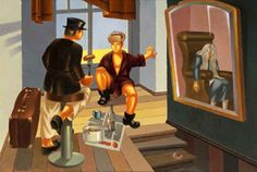"Daniil Ivanovich and Sakerdon MIkhailovich Drink Vodka (based on D. Kharms novel ""The Old Woman""), 2010 Oil On Canvas 90 X 130 Cm"