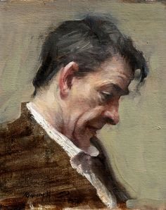 "Quang Ho,  ""English Gentleman"", Oil, 8¾ x 7"" / Gallery 1261 :: Denver, Colorado"
