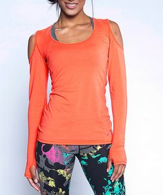 Another great find on #zulily! Hot Coral Abstract Long-Sleeve Top by TLF Apparel #zulilyfinds