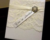 Ivory Vintage Lace Wedding Invitation & RSVP - DEPOSIT - with pearl and diamante cluster. $200.00, via Etsy.
