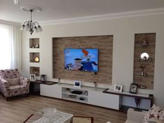Ein warmes Dekorationsbeispiel in Edirne - Rüya Gümüş - Mix. Tv Wall Design, House Design, Modern Tv Units, Living Room Entertainment Center, Living Room Tv Unit Designs, Bedroom False Ceiling Design, Tv Wall Decor, Home Staging, Living Room Decor