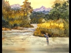 """Paint Along with Larry Hamilton Watercolor July 2015 """"Montana Fly Fishing"""" Watercolor Video, Watercolor Painting Techniques, Watercolour Tutorials, Painting Lessons, Watercolor Landscape, Watercolor Paintings, Watercolours, Art Paintings, Art Lessons"""