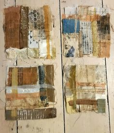 Julia Wright mixed media textile art pieces - patchwork, embroidery, print - small pieces of work created by bits found on Oxford Road over time! Textile Fiber Art, Textile Artists, Textiles Sketchbook, Tea Bag Art, Creative Textiles, Fabric Journals, Art Plastique, Fabric Art, Medium Art