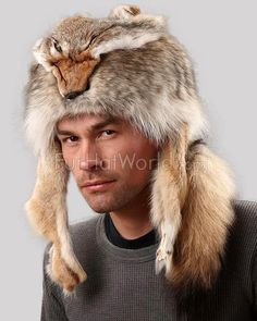4856ac14077 Coyote Fur Davy Crockett Men s Hat with Face   Legs
